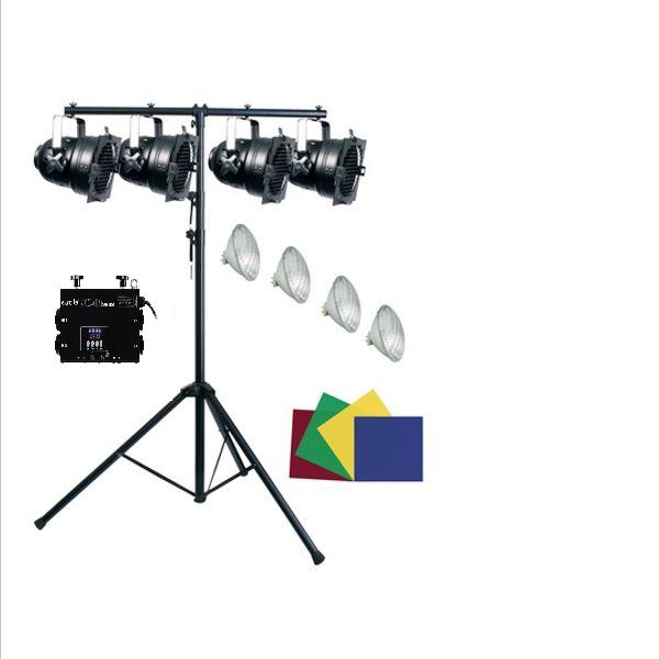Pakke: 4x PAR-56, 4x 300w pærer, T-bar stativ, fargefolie, DIMME